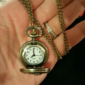 Antique style watch/angel locket on chain